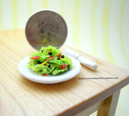 So here is my first attempt at making a salad. I'd say I'm pretty happy with how it turned out =]. I also made the little napkin...