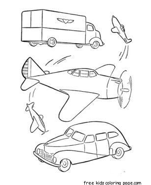military car and airplane coloring pages printable - Airplane Coloring Pages Printable