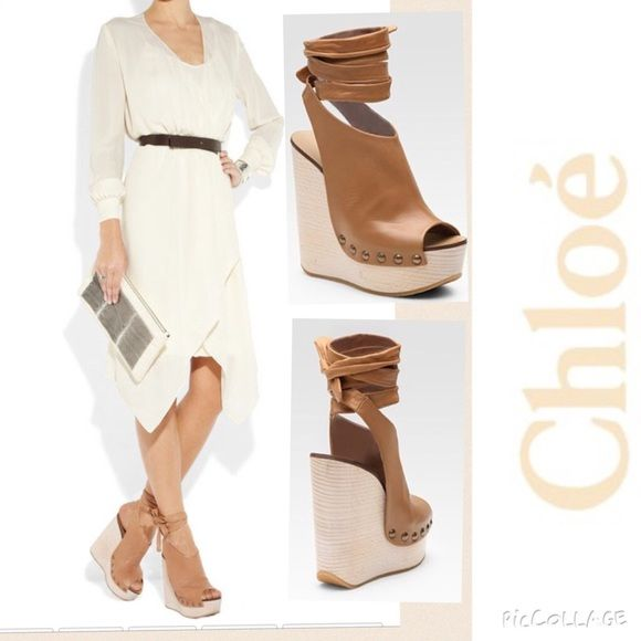 c8da9c6de32 Flash SaleIconic Chloe Platform Wedge Leather ties at ankle. Chloé wedge  sandals  round peep