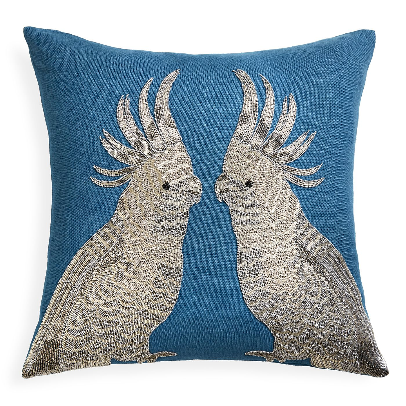 Sofa Safari.Glam and surreal, our Zoology Pillows add the perfect punctuation to your pillowscape. Intricate silver beadwork embroidered on turquoise linen
