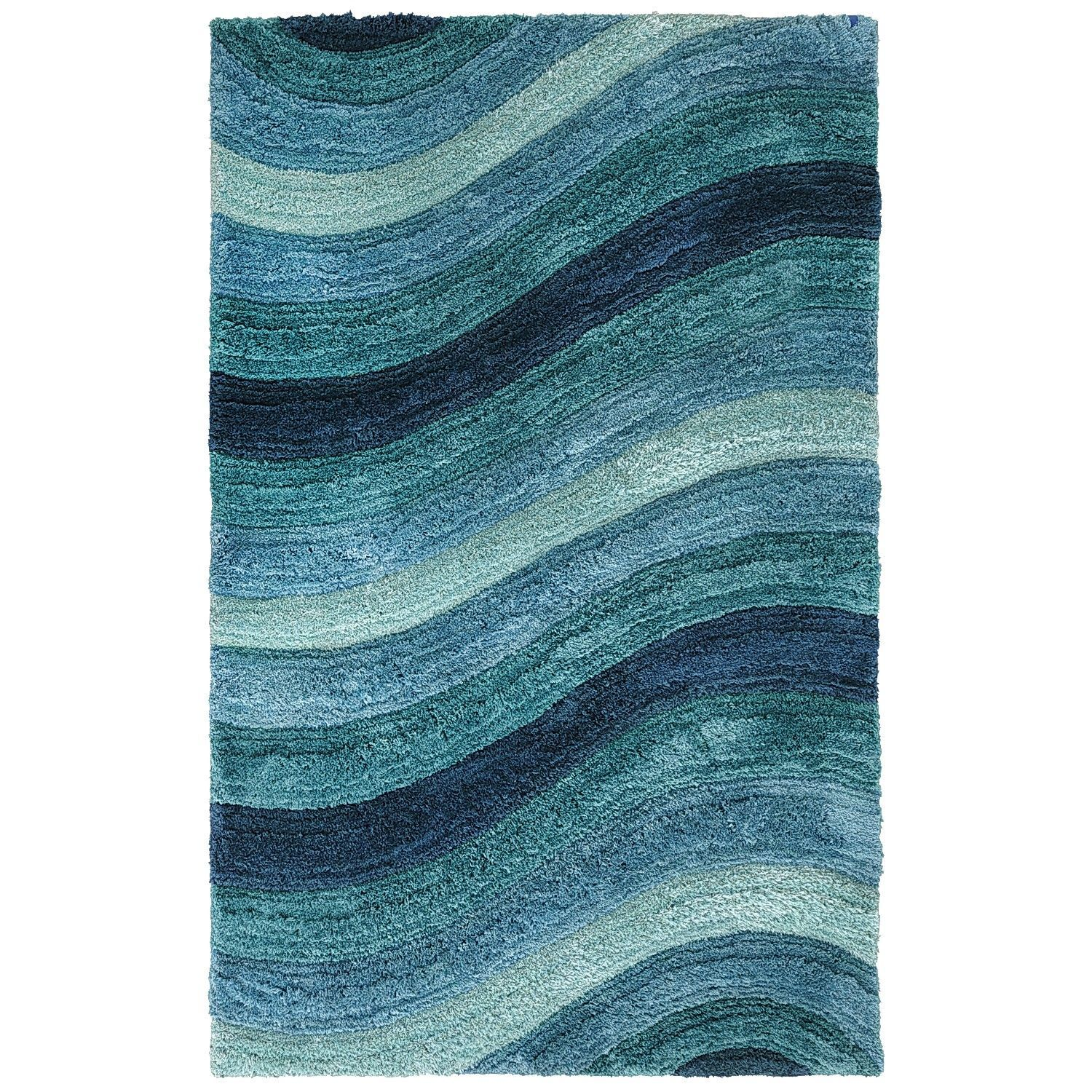 Perfect Larue Wave Shag Rugs   Teal