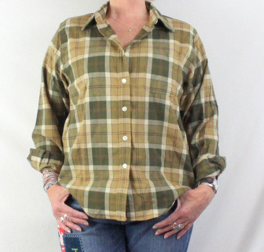 LL Bean Blouse New Large size Green Beige Plaid Flannel Womens Shirt Soft Comfortable Top