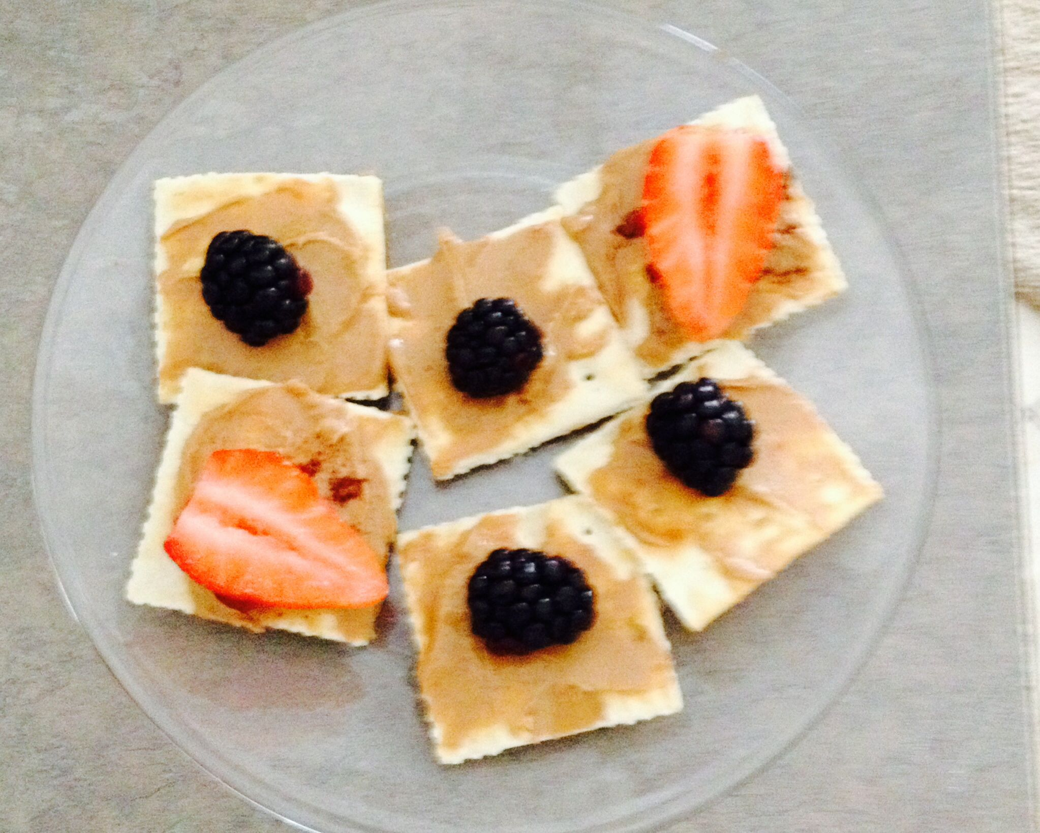 Peanut butter crackers instead of jelly use fresh fruit and add cinnamon for more flavor