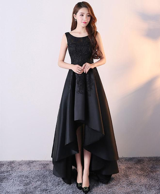 Black Satin And Lace Round Neckline High Low Dress, High Low Formal Gowns, Party Dresses