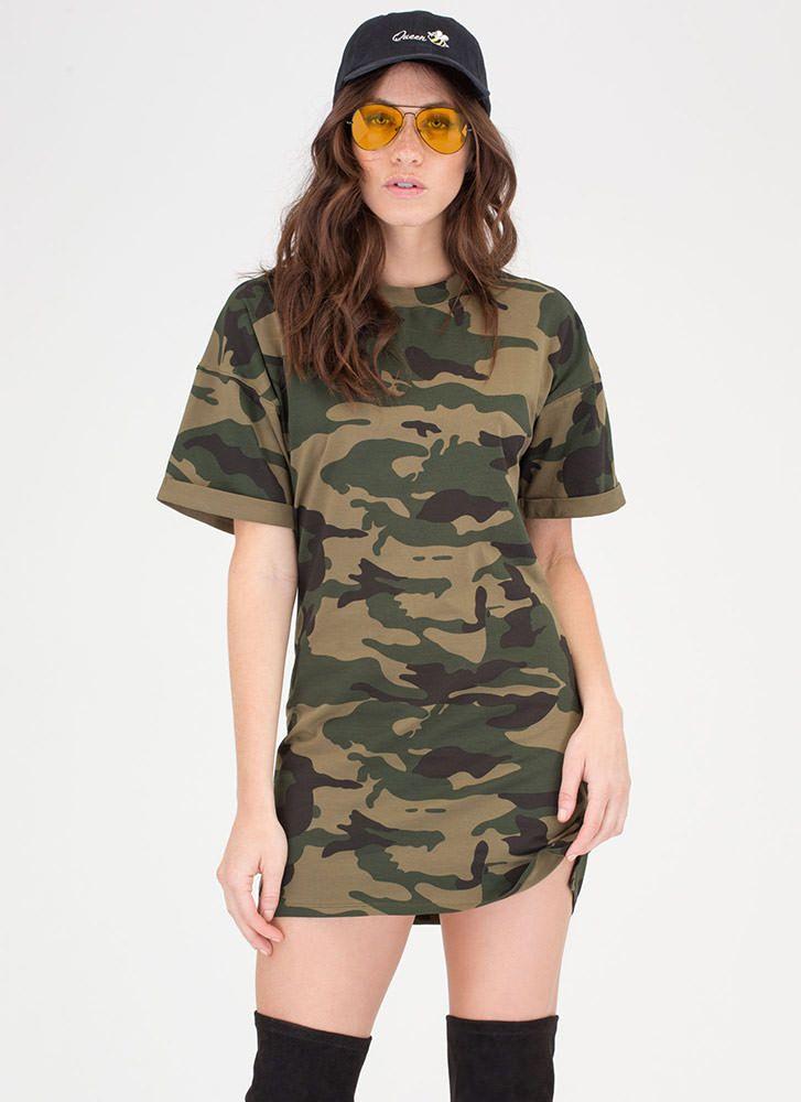 32da2fcbd80da Tough Love Cuffed Camo T-Shirt Dress | GO GO GO | Dresses, Camo t ...