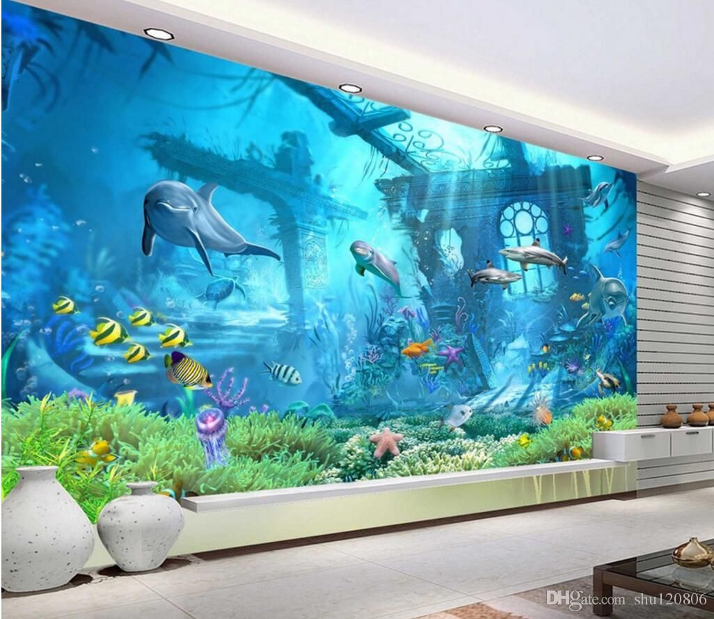 3d Room Wallpaper Custom Photo Mural Underwater World Dolphin Remains Home Decor Painting Picture 3d Wall Murals Wall Custom Murals Photo Mural Mural Wallpaper Underwater living room background