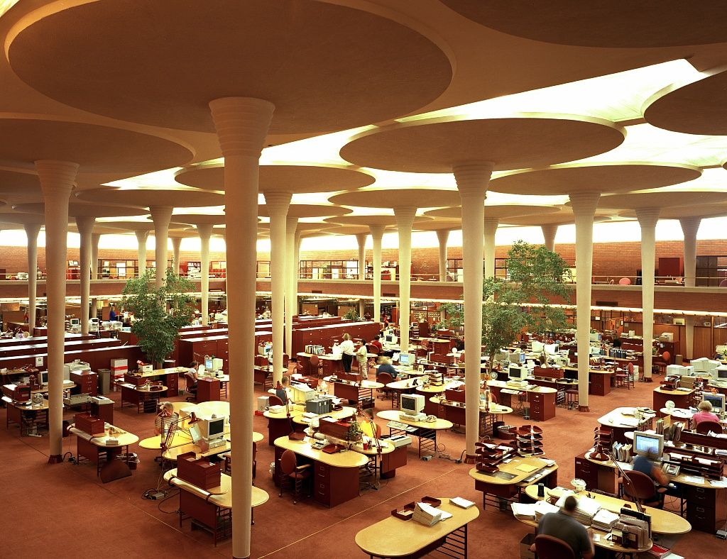 Work Area At The Johnson Wax Building Headquarters Of The S C