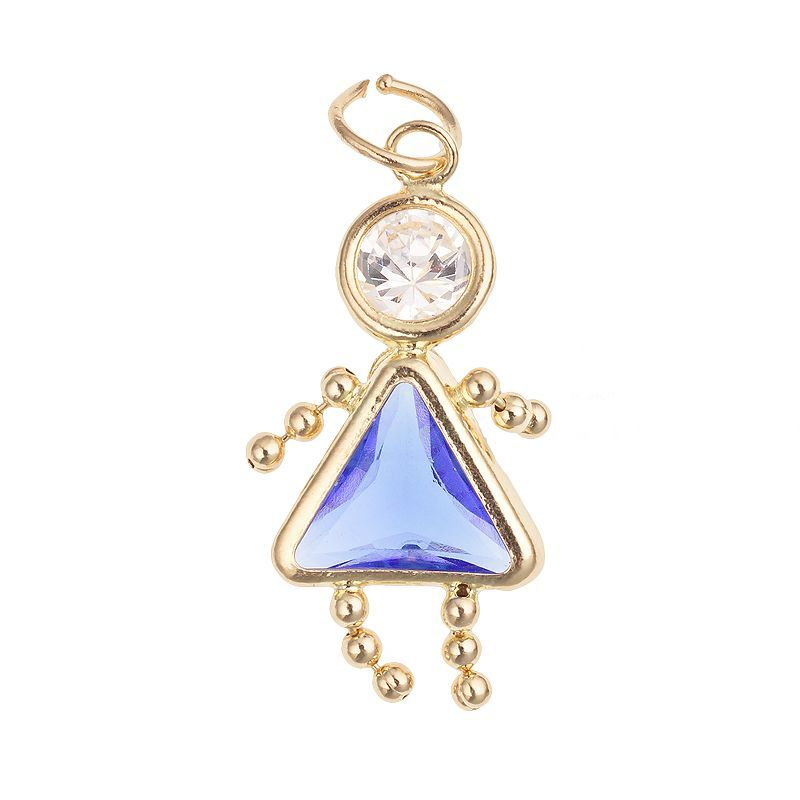 10k Gold Birthstone Babies Girl Charm Multicolor Girl Charm 10k Gold Birthstone Jewelry