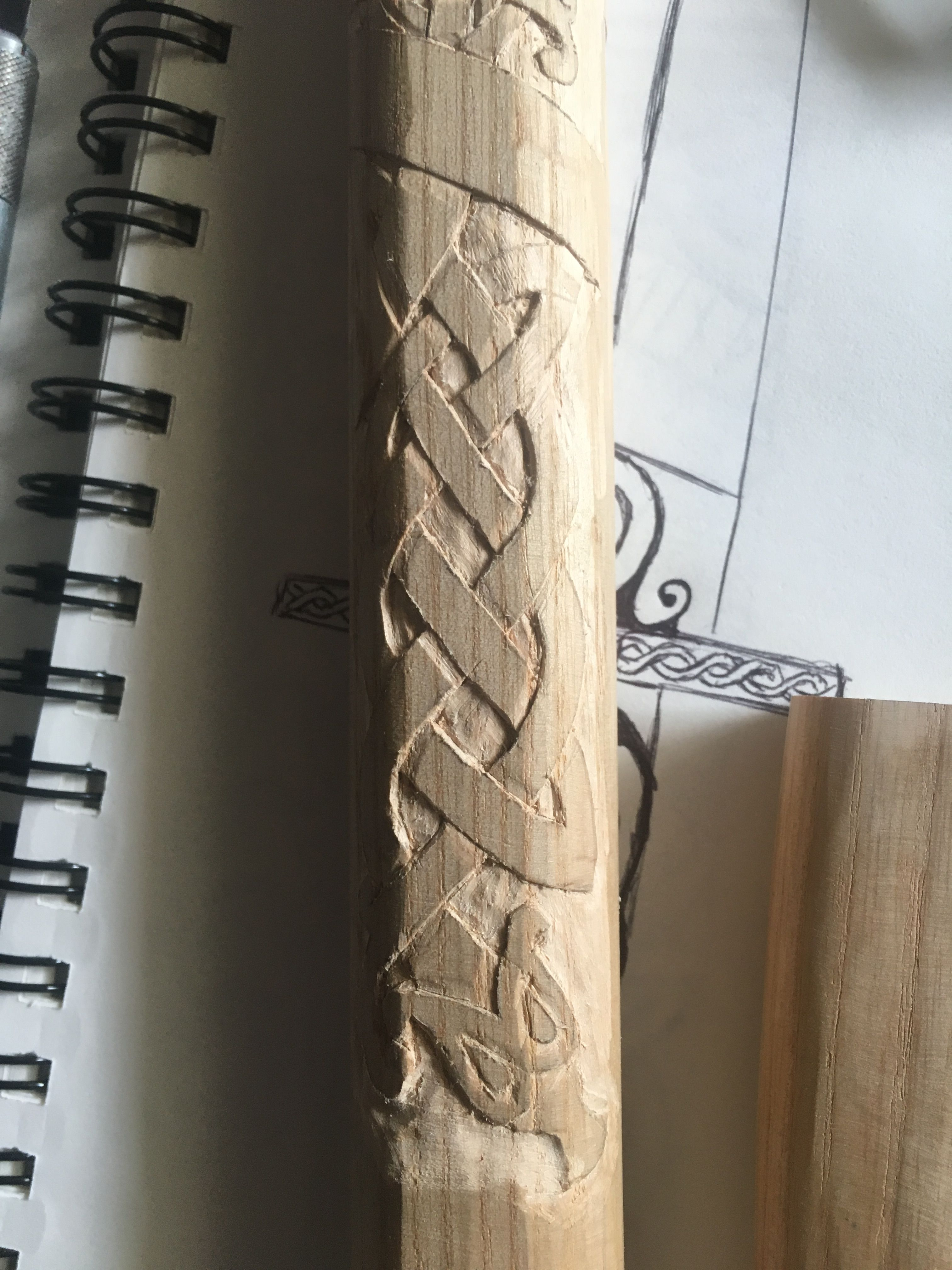 Carving an axe handle from Ash wood