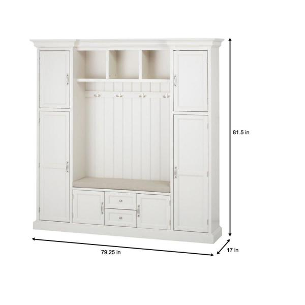 Home Decorators Collection Royce Polar White 79 25 Hall Tree 7474200410 The Home Depot In 2020 Entryway Storage Cabinet Mud Room Storage Entryway Storage