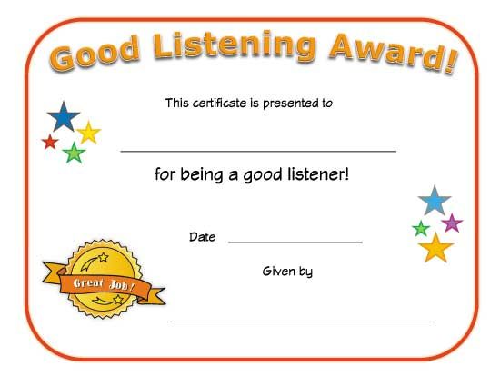 good listener award Preschool crafts Pinterest Certificate - award certificates templates