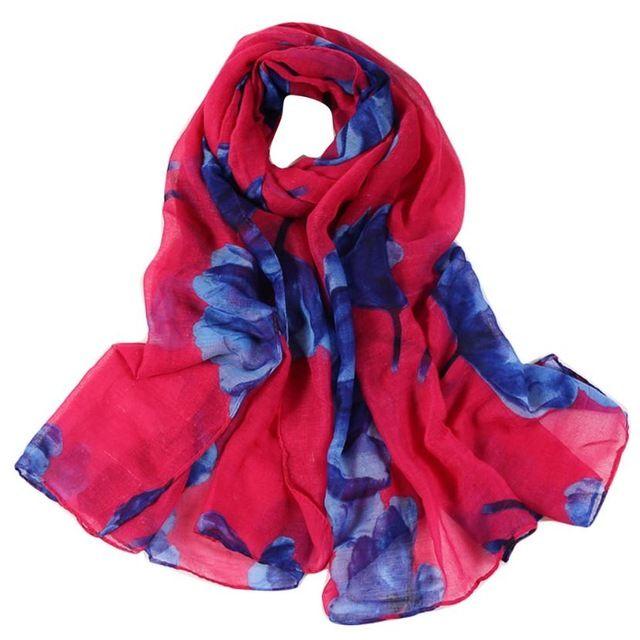 a677cbe0916 Fashion Women Soft Scarf Ladies Floral Long Wrap 2018 Spring Thin Voile  Scarves Elegant Ladies Shawl Echarpes  10