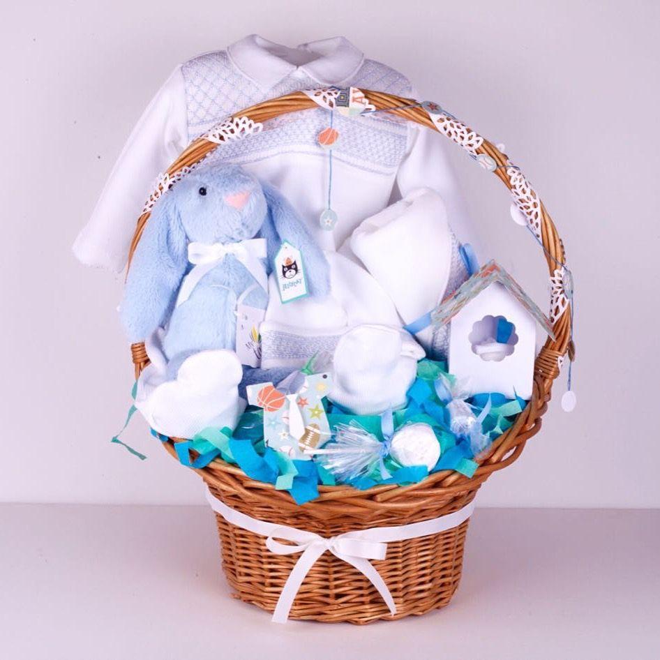 Hand Smocked Baby Gift Basket هدية مولود بطقم مشغول باليد Baby Gifts Boyfriend Gift Basket Baby Gift Basket