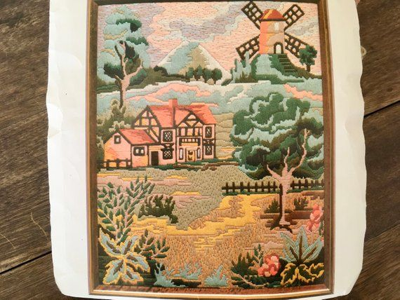 *VINTAGE LONGSTITCH* 1981 BERNAT FLEMISH COUNTRYSIDE LARGE ***RARE*** KIT