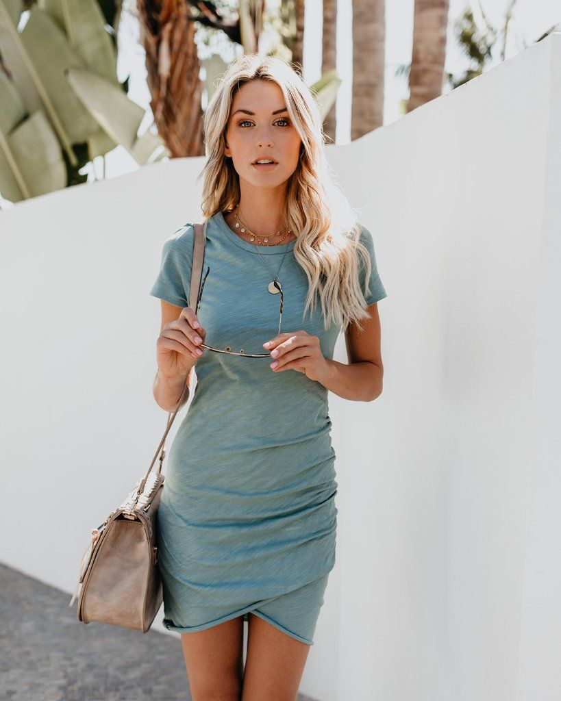 Preorder Perfect Fit Ruched Shirt Dress Seafoam Clothes
