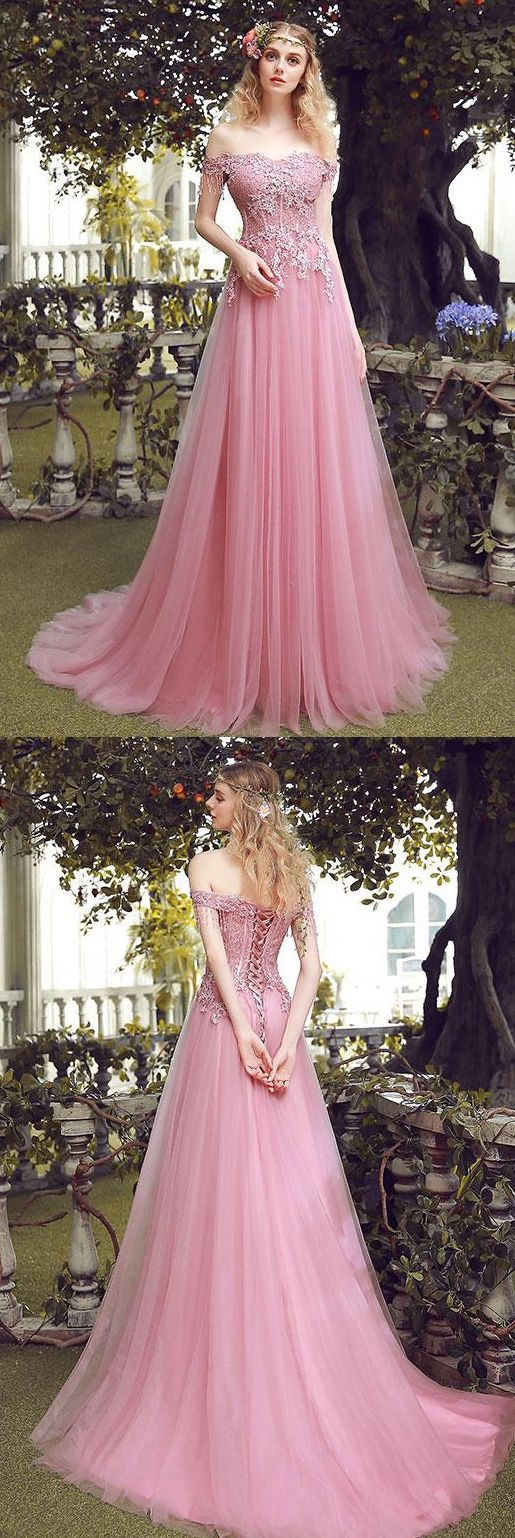Charming Off Shoulder Lace Up Pink Lace Tulle Prom Dress ...