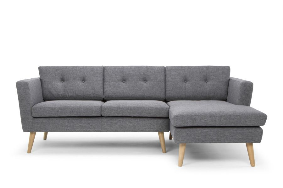 Nahla Scandinavian Style Right Hand Facing 3 Seater Sofa with chaise - Steel/Oak Legs  sc 1 st  Pinterest : 3 seater couch with chaise - Sectionals, Sofas & Couches