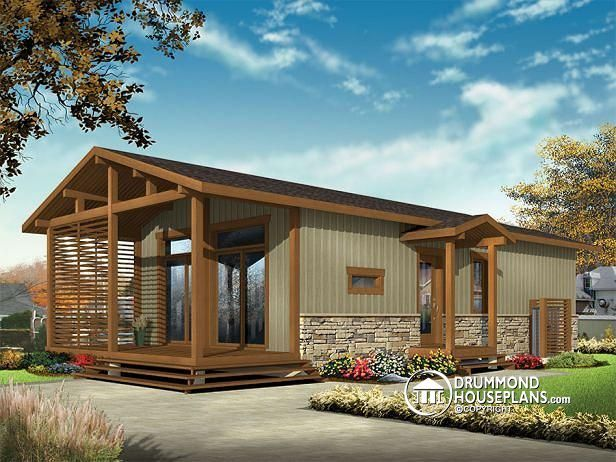 W1907 - Modern Rustic 700 Sq.Ft. Tiny Small House Plan, Very