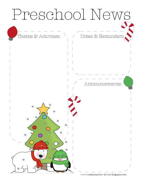 The Crafty Teacher Christmas Preschool Newsletter Template
