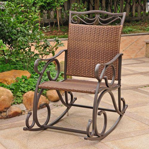 International Caravan 4104 Rkr Abn Valencia Resin Wicker Steel Rocker Bellacor Resin Wicker Rocking Chairs Wicker Rocking Chair Resin Wicker Patio Furniture