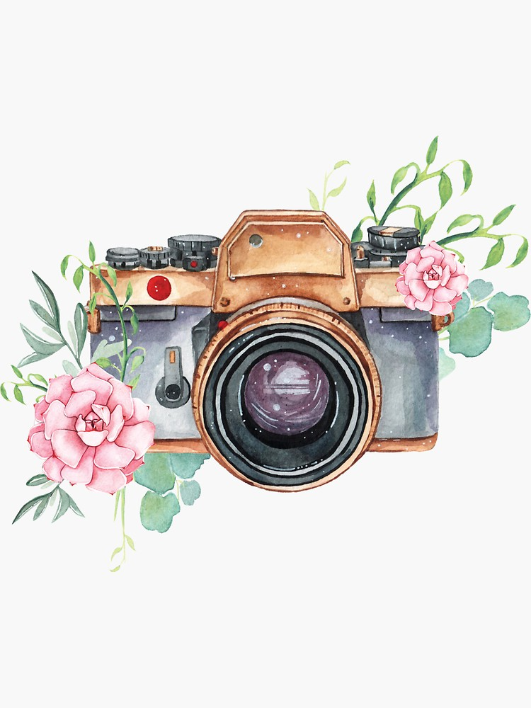 Watercolor Camera Watercolor Flowers Photographer Gift Photography Camera Flowers Sticker By Southprints Camera Drawing Art Camera Illustration Flower Drawing