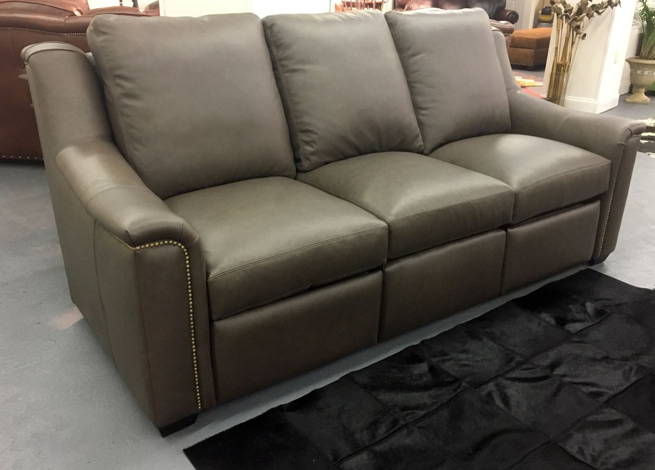 Marquis Leather Sofa Recliner With Nails American Heritage Made In The Usa