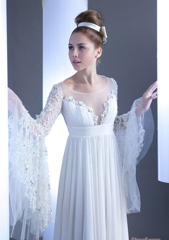 chiffon wedding dress with long sleeves - Google Search | Gorgeous ...