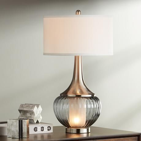 Courtney Metal And Glass Night Light Table Lamp 19p17 Lamps