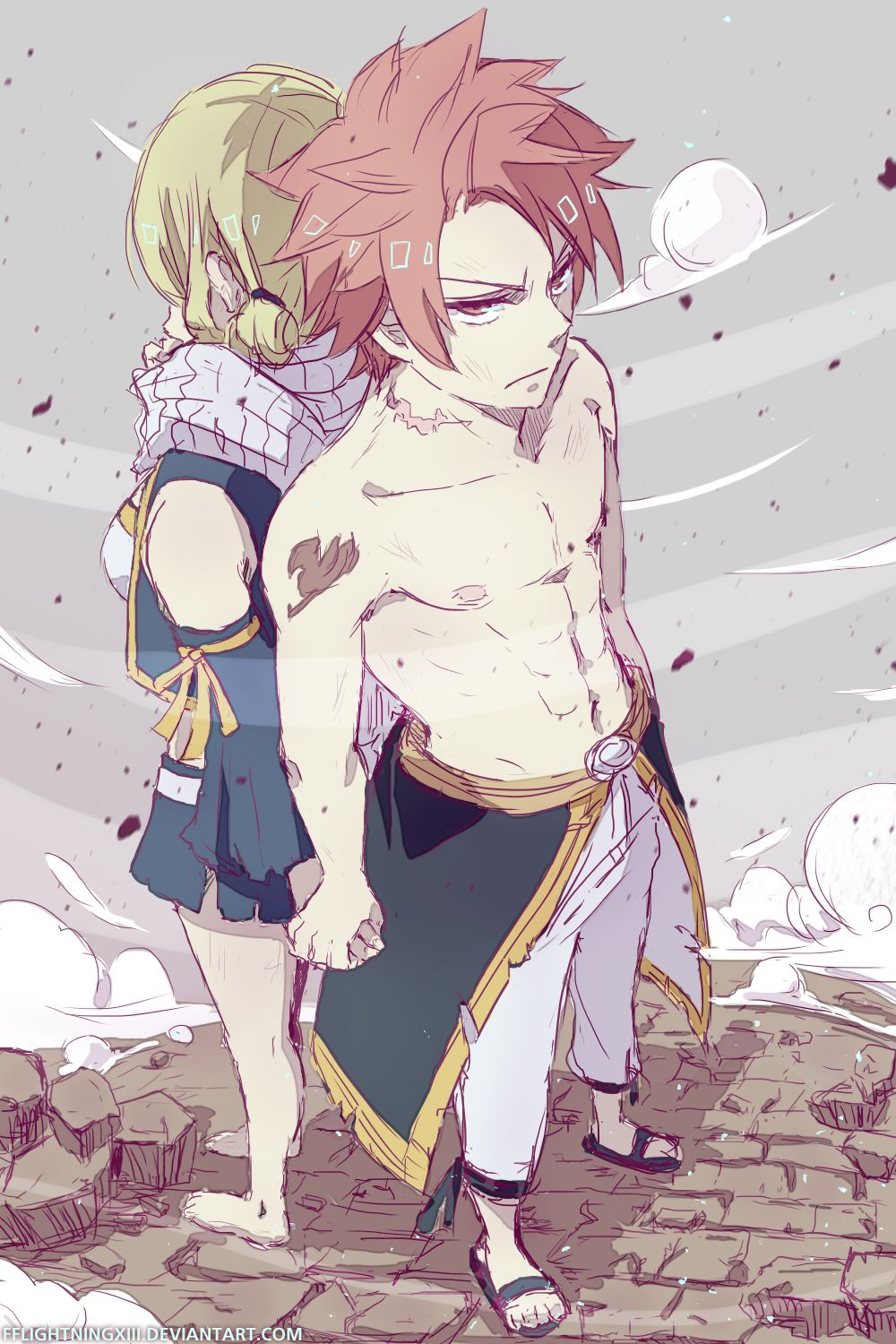 Lucy Heartfilia and Natsu Dragneel~Fairy Tail by lightning-strikes