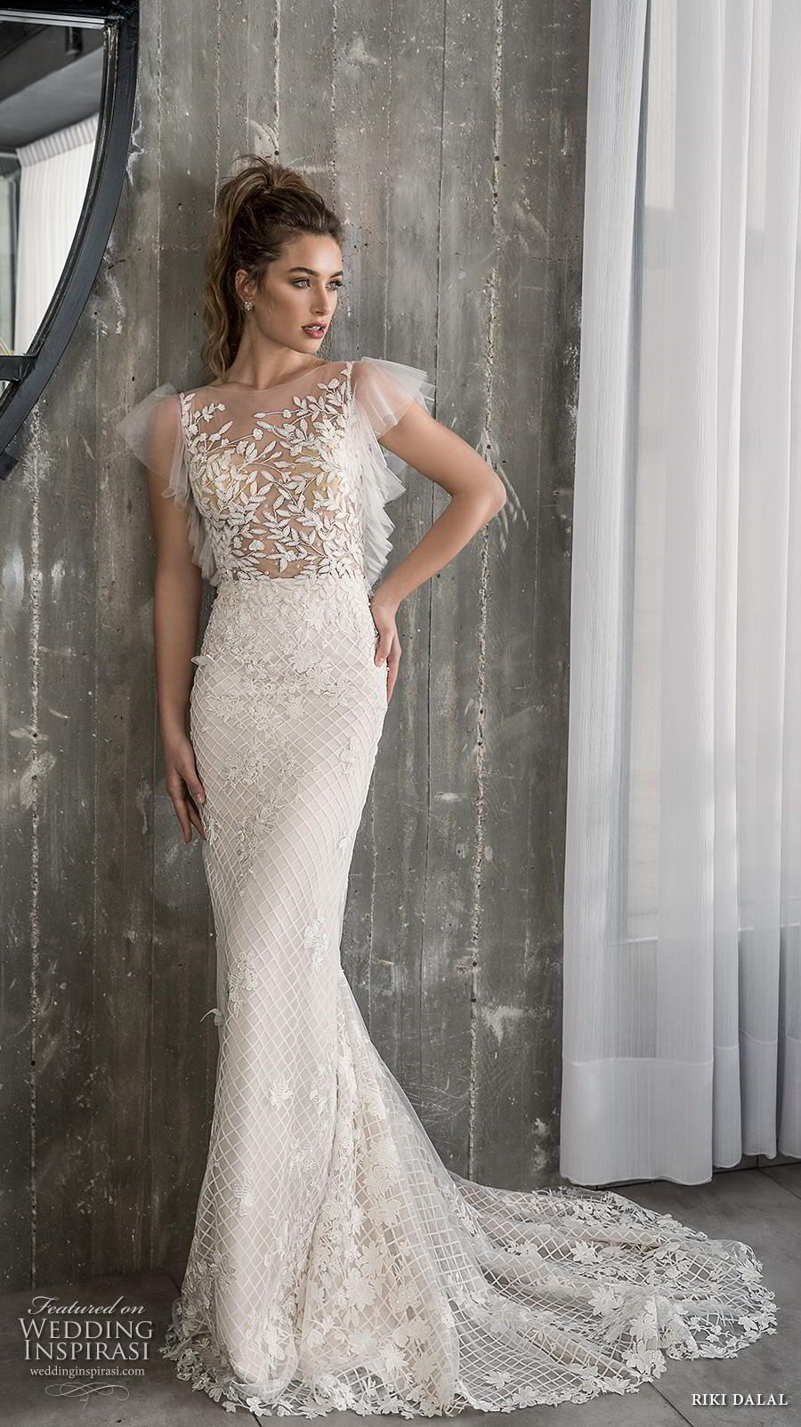 54814c5a07 riki dalal 2018 glamour bridal cap sleeves illusion bateau neck full  embellishment romantic fit and flare wedding dress sheer lace back short  train (3) mv ...