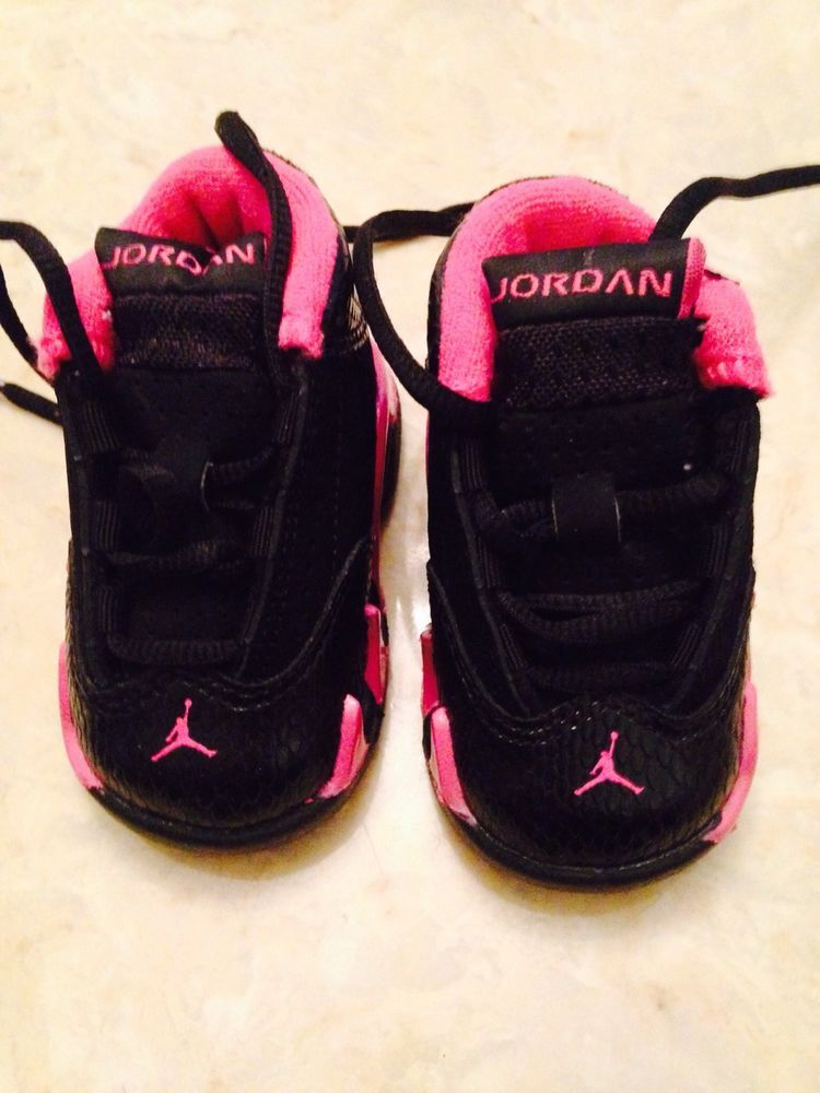 3b0a5256450b Nike Air Jordan XIV 14 Retro Infant todler Girls Pink black Shoes Size 2c  in Baby Shoes