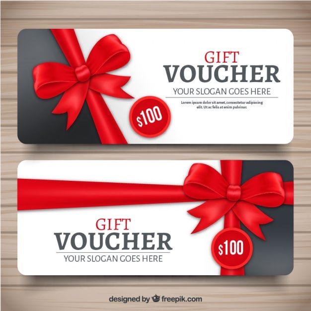 Realistic gift voucher with red decorative bow Free Vector Card - examples of gift vouchers