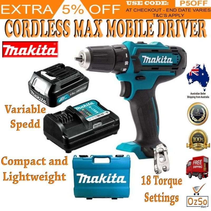 Cordless Driver Drill 12V Kit 1 5Ah Battery & Charger with