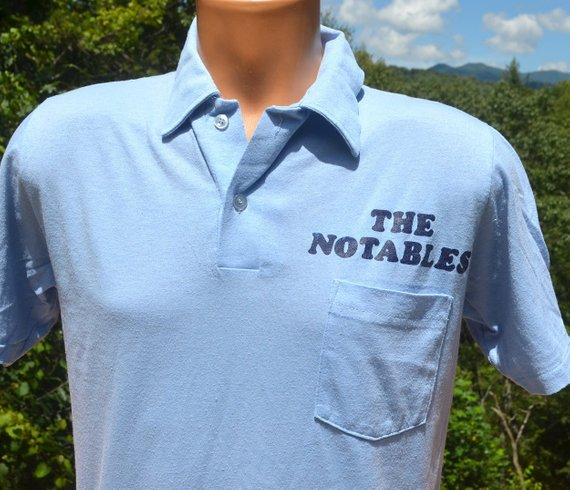 261363ca vintage 80s pocket polo THE NOTABLES rock band shirt Medium Small blue wtf