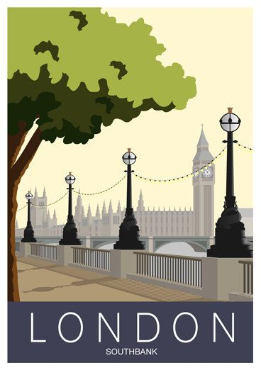 LONDON. Art Print Travel / Railroad Poster by London Southbank. A4, A3, A2 in retro, Art Deco style design