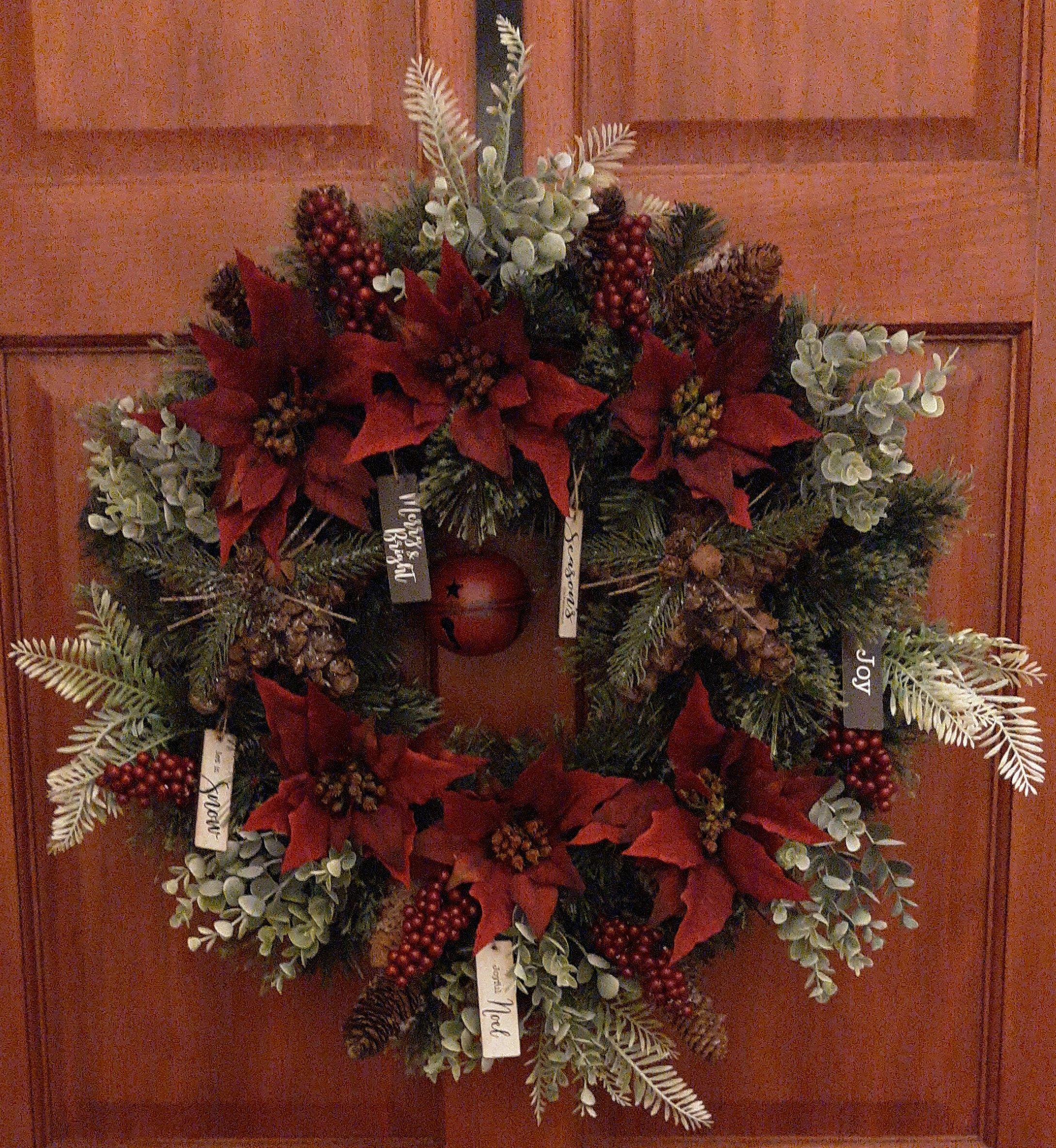 Christmas Wreath For Front Door, Winter Wreath, Poinsettia ...