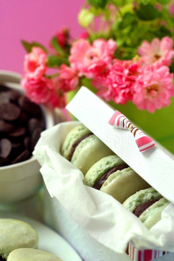 Chocolate and Mint Macarons