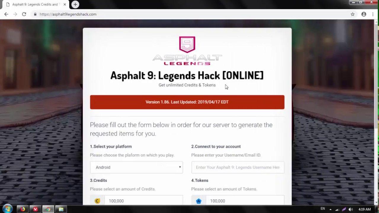 Asphalt 9 Legends Credits and Tokens Online Hack 2019 Tested