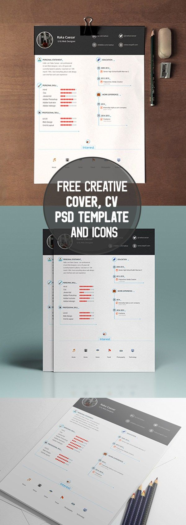 Free Creative Cover, CV PSD Template and Icons