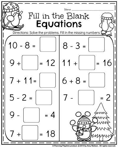 1st Grade Worksheets For January 1st Grade Worksheets Kids Math Worksheets First Grade Math Worksheets