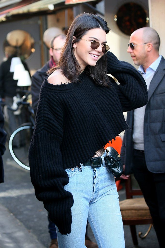 e383f4ea4a527a Kendall Jenner Jeans and Fishnet Tights in Paris Jan. 2017 | POPSUGAR  Fashion