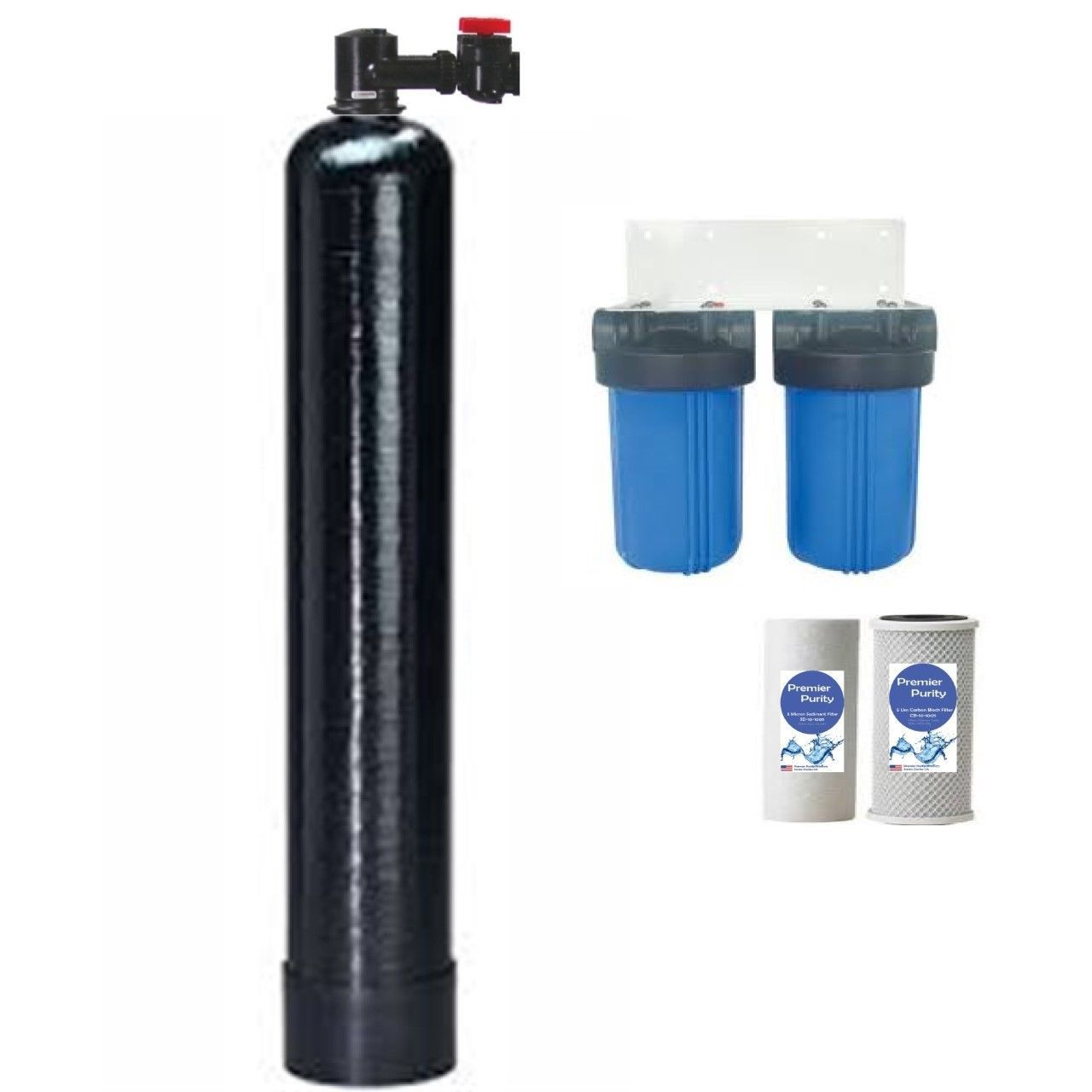 PremierSoft SALT FREE WATER CONDITIONER 12 GPM WITH Big Blue filters ...