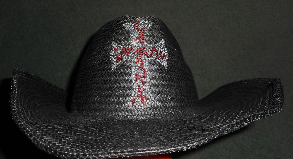 c733621cea6a8 Women s Black MHT HATTERS of TEXAS Rhinestone Bling Western Cowboy ...
