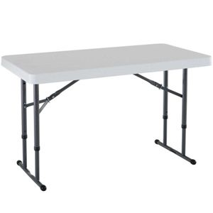 Lifetime Almond Adjustable Folding Utility Table 48 X 24