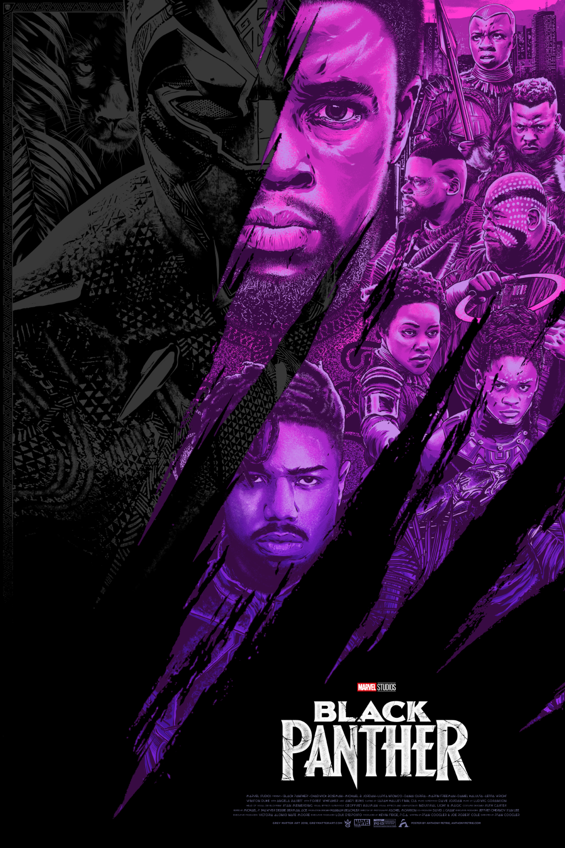 Wakanda Forever Artist Anthony Petrie Draws The King Of Wakanda In This Limited Edition Black Panther Movie Poster Marvel Movie Posters Black Panther Marvel