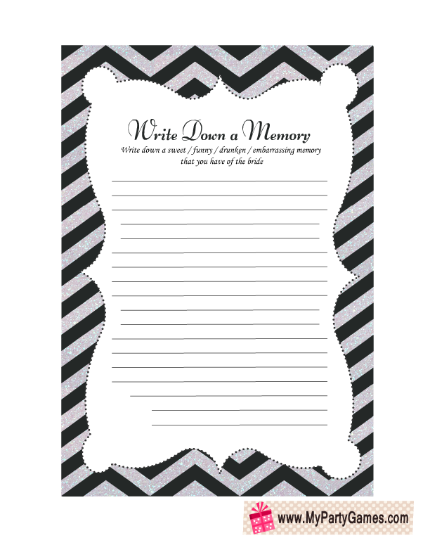 Free Printable Share a Memory with the Bride Game Card | Kids Party ...