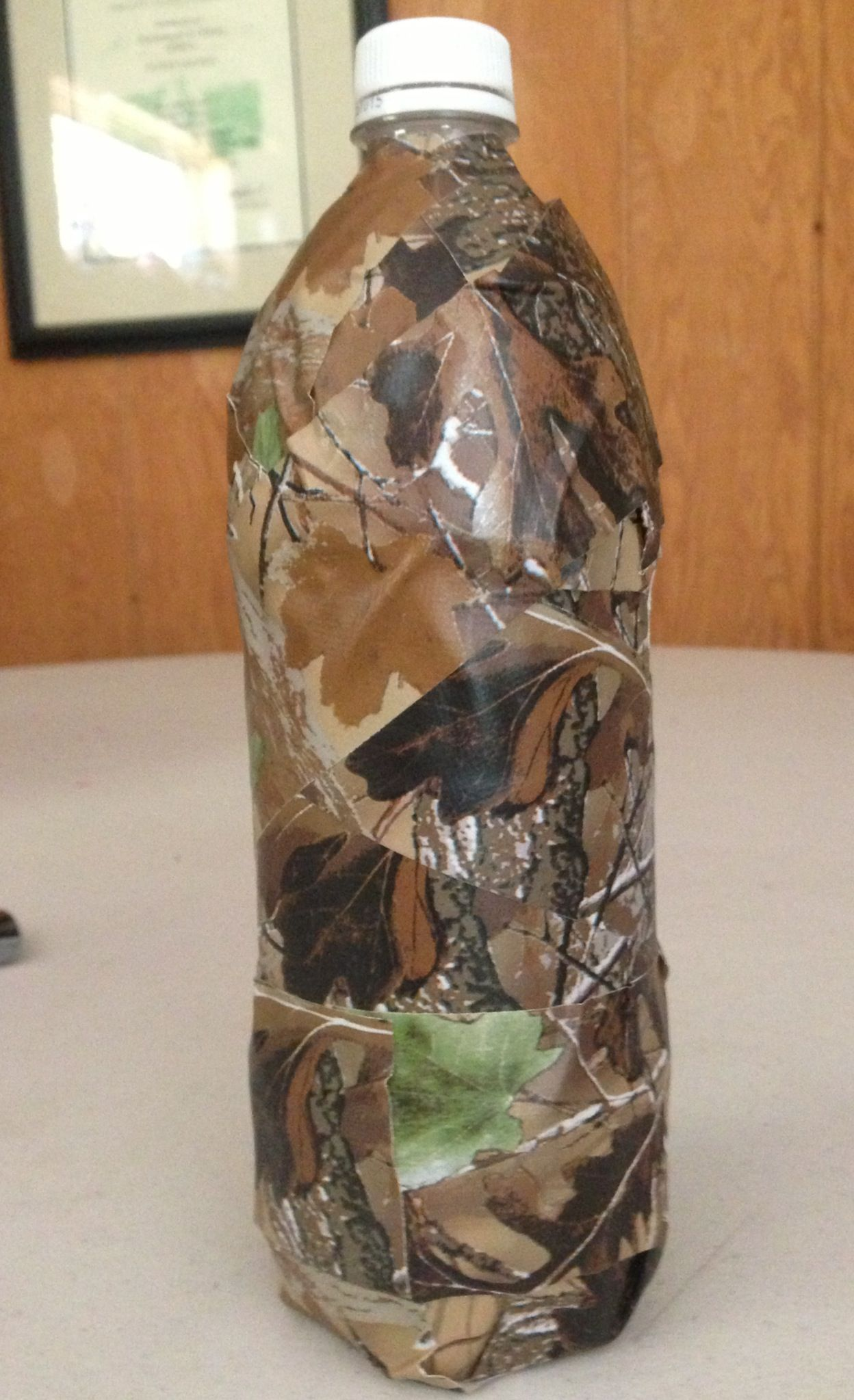 Camo water bottle made with camo duck tape.