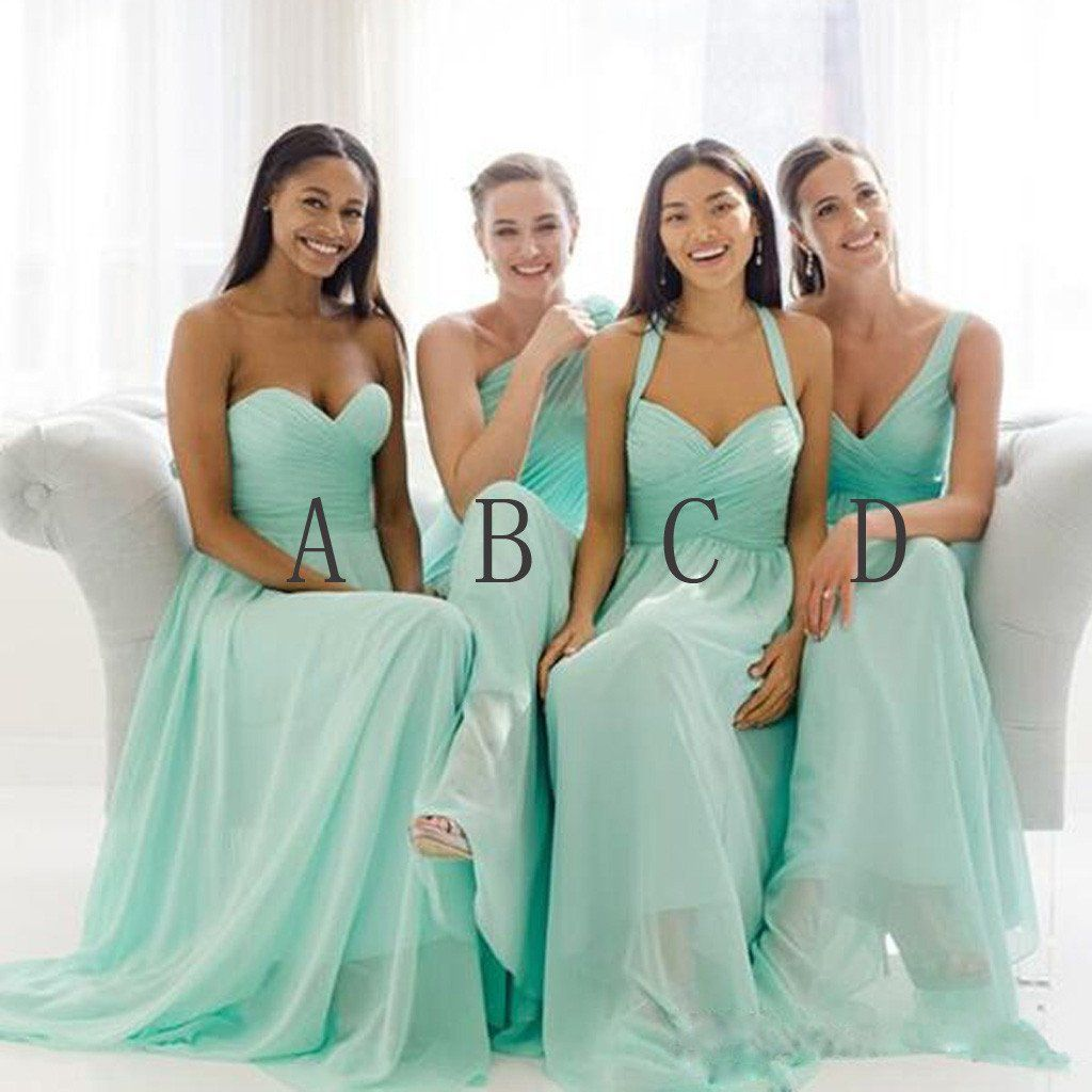 Mismatched Mint Chiffon Different Styles Junior Simple A Line Formal ...