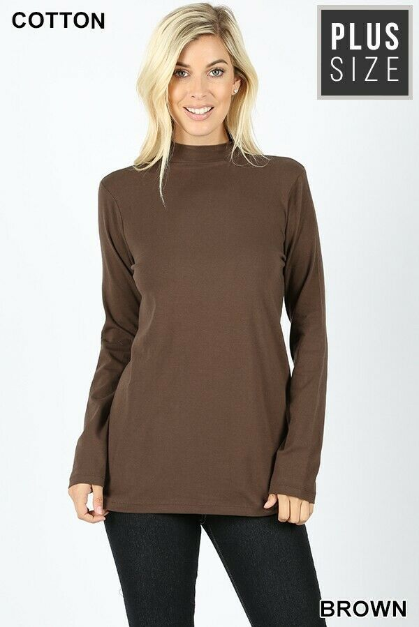 e3891cfdb9ee5f Details about NEW WOMENS SOLID MOCK NECK LONG SLEEVE BROWN TOP PLUS ...