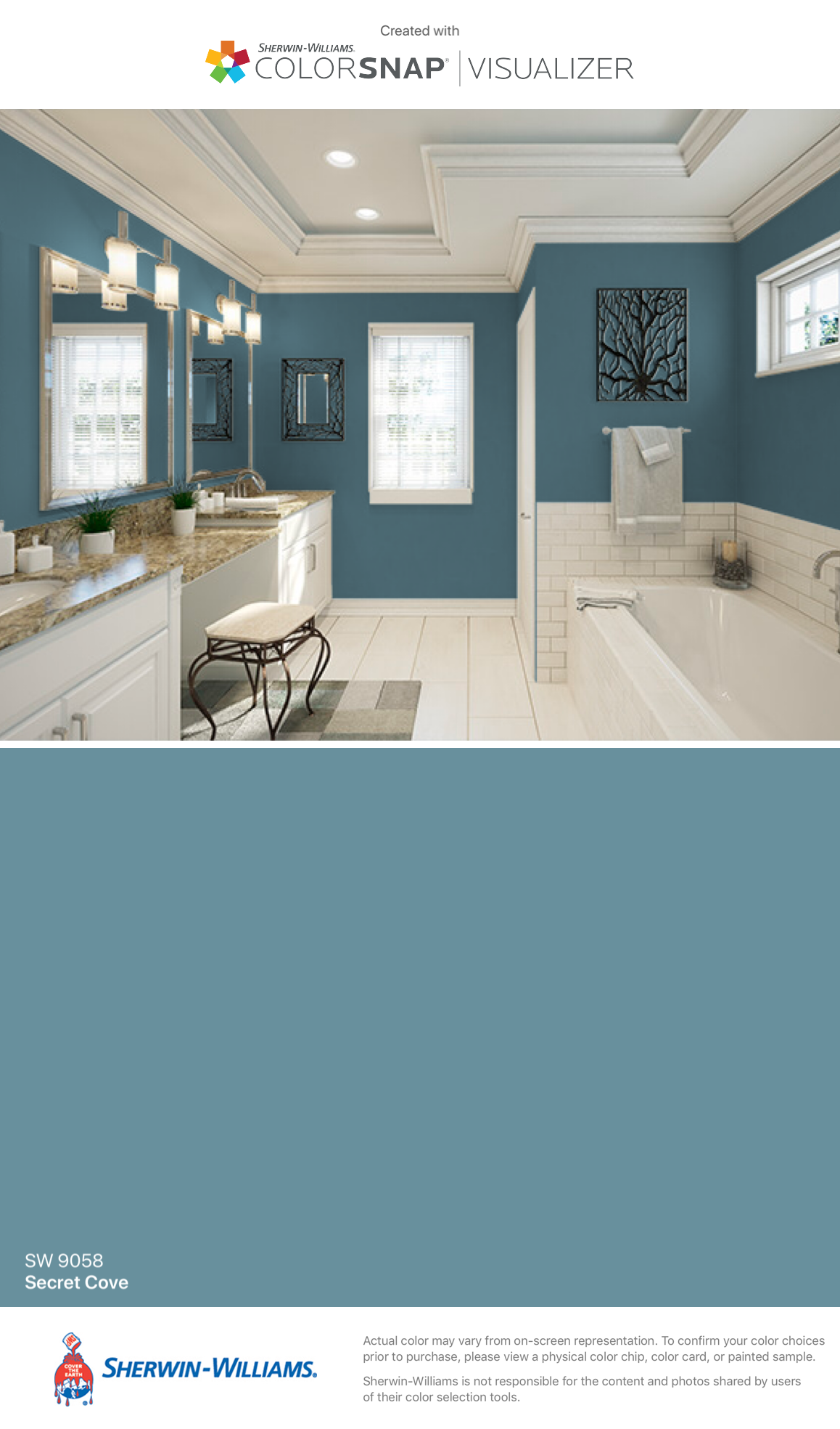 I Found This Color With Colorsnap Visualizer For Iphone By Sherwin Williams Secret Cove Sw Paint Colors For Home Bedroom Paint Colors Bathroom Paint Colors